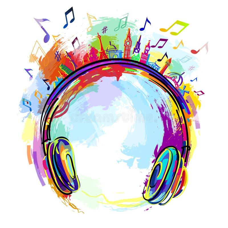 Música colorida de los auriculares imagenes de archivo
