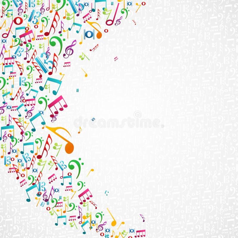 A música colorida nota o fundo ilustração royalty free