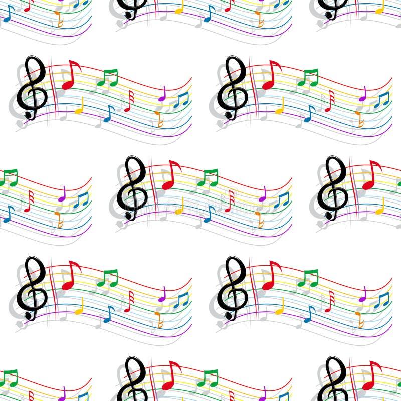 A música colorida sem emenda nota o teste padrão ilustração stock