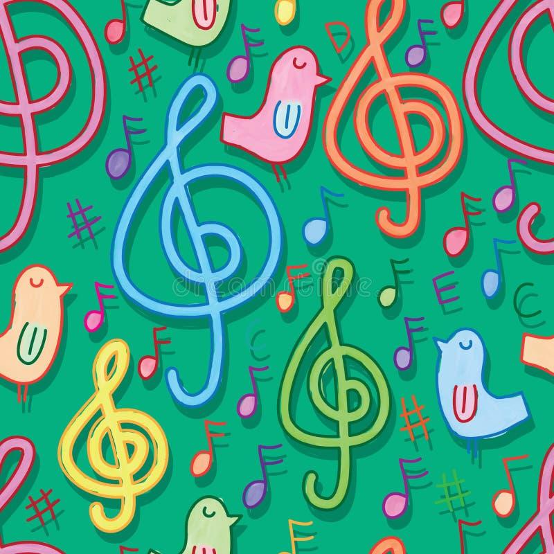 Música com teste padrão sem emenda do verde da aquarela do pássaro ilustração do vetor