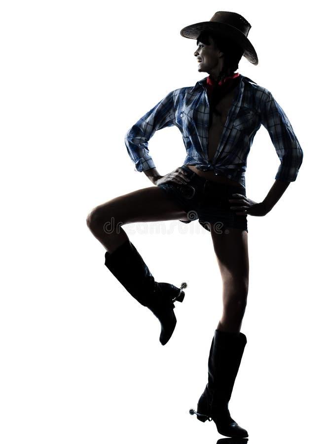 Música country feliz da dança do dançarino da menina da vaca da mulher foto de stock