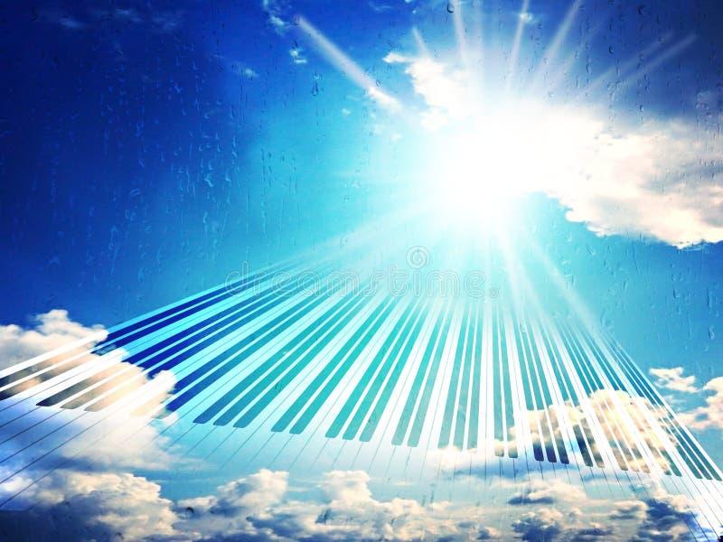 M?sica da chuva Melodia da vit?ria/fim de um temporal O sol brilha sempre ap?s a chuva Can??o celestial Piano do teclado fotografia de stock royalty free