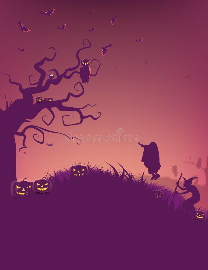 Música da noite Floresta assustador com árvores e abóboras inoperantes e tabela de madeira Tabela de madeira Projeto de Dia das B ilustração stock