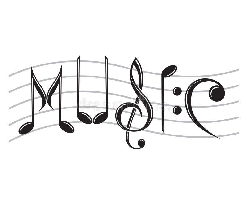 Música da palavra como notas ilustração royalty free