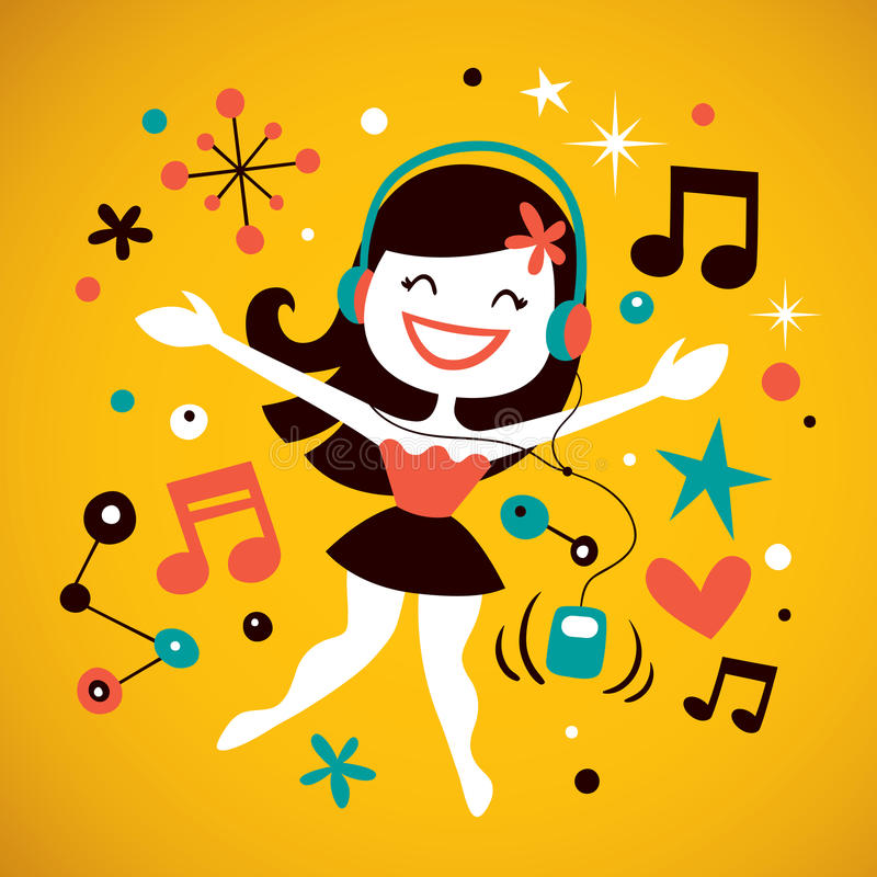 Música de escuta da menina bonita ilustração royalty free