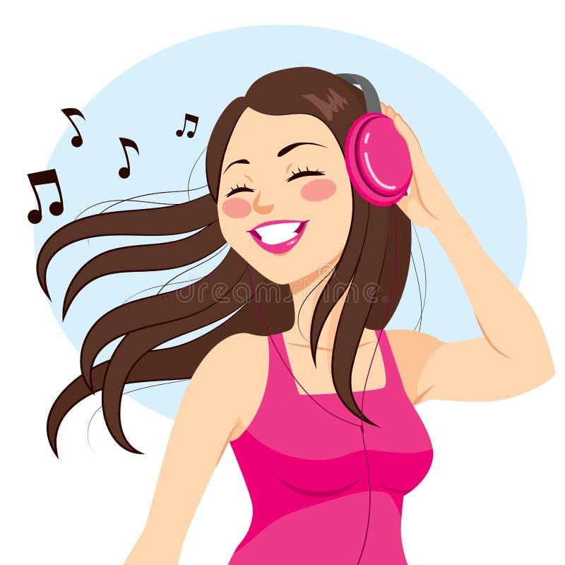 Música de escuta da mulher ilustração do vetor