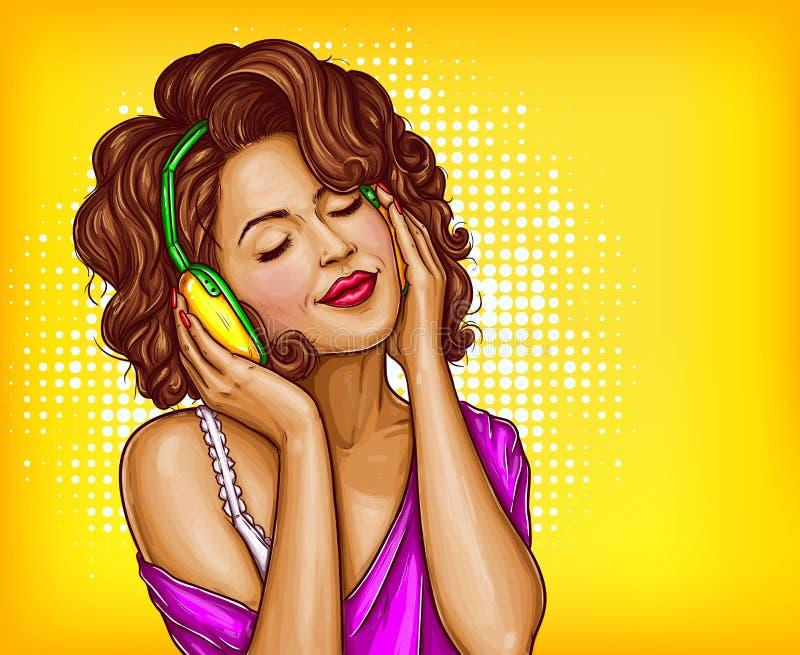Música de escuta da mulher no pop art dos fones de ouvido ilustração stock
