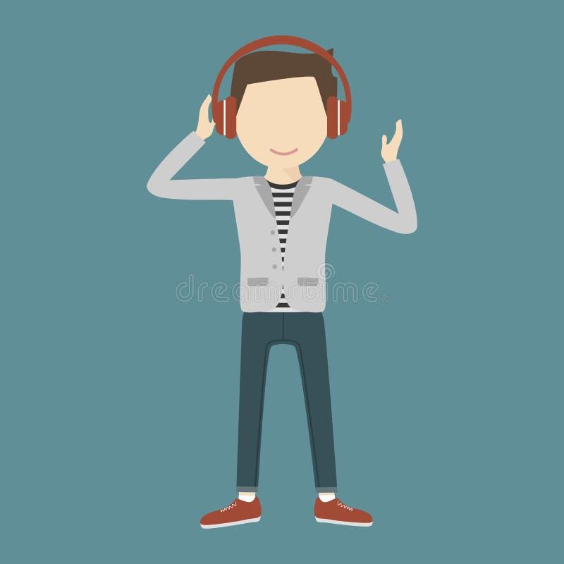 Música de escuta do homem através dos fones de ouvido ilustração do vetor