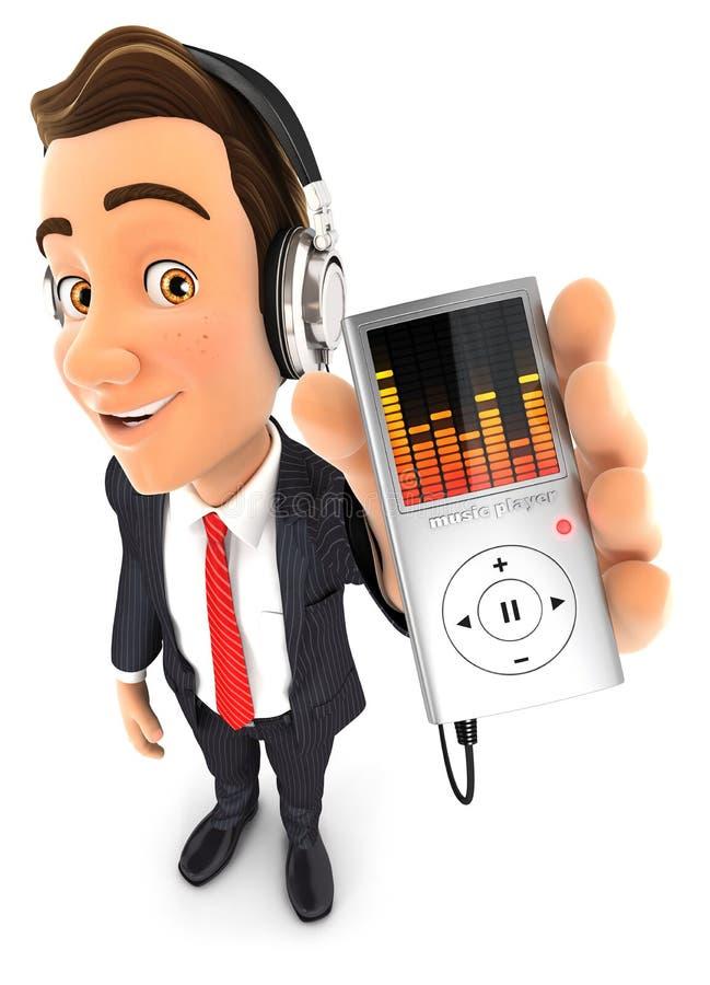 música de escuta do homem de negócios 3d no leitor de mp3 ilustração stock