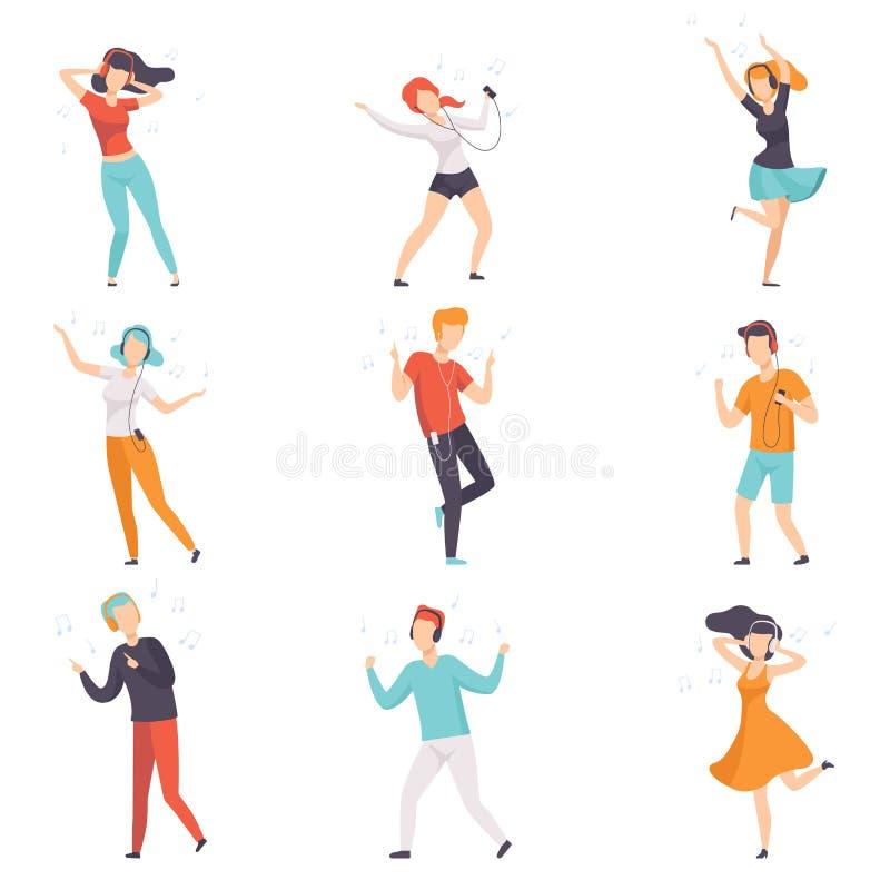 Música de escuta dos povos diversos com fones de ouvido e grupo de dança, indivíduos sem cara novos e meninas na roupa ocasional  ilustração do vetor