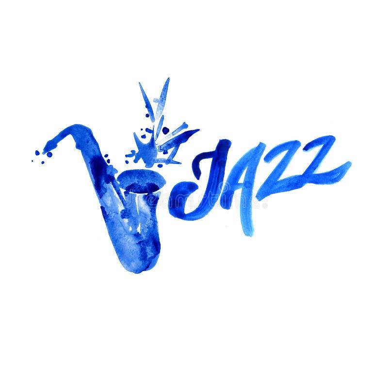 Música de jazz, plantilla del fondo del cartel Diseño gráfico de la acuarela stock de ilustración