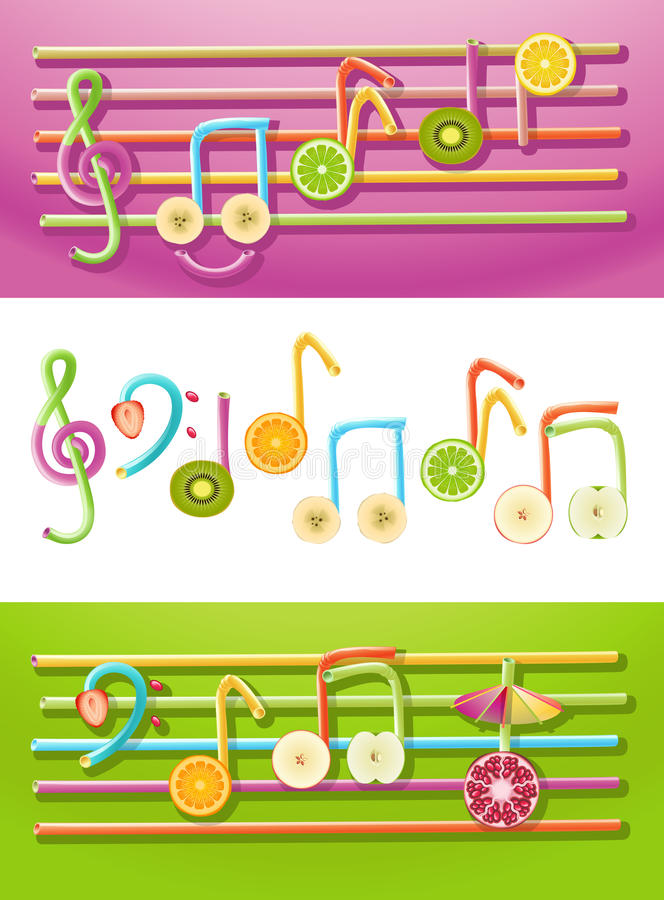 Música de la fruta ilustración del vector