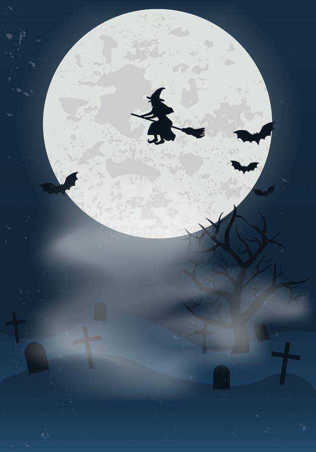 Música de la noche Cementerio en noche con la Luna Llena, la bruja que vuela y los palos Fondo de Halloween para la bandera del d ilustración del vector