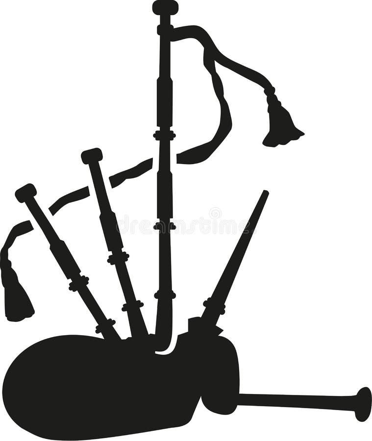 Música de la silueta de la gaita stock de ilustración