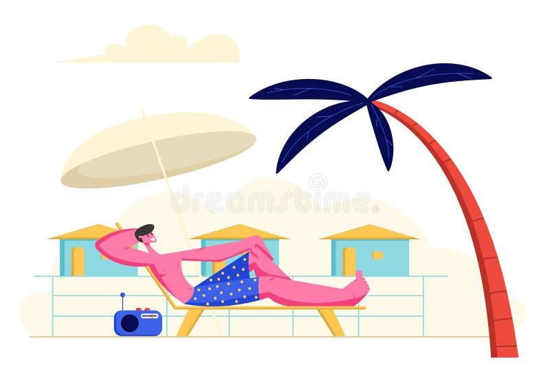 Música de rádio Lounging e de escuta do homem novo em Chaise Lounge sob o guarda-chuva e a palmeira de Sun na praia do mar em h ilustração do vetor