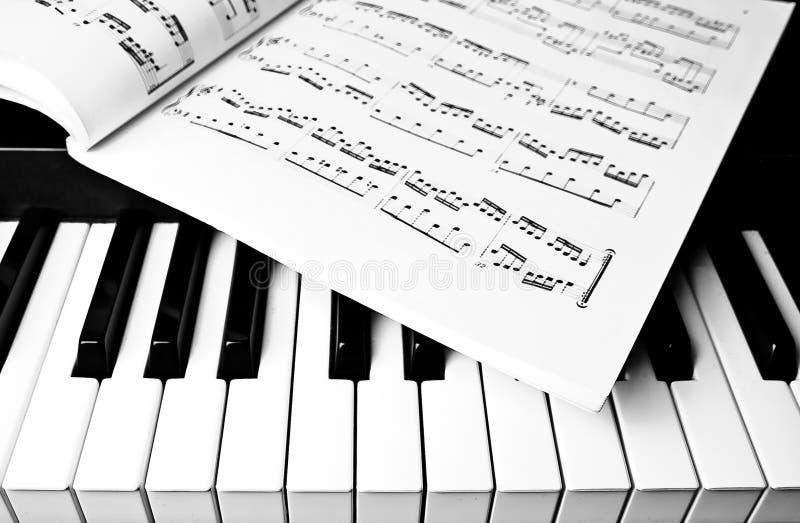 Música de teclado e de folha de piano imagens de stock