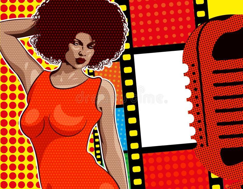 Música del alma del cantante de la señora, vestido rojo Mic y vinilo retros en el fondo Imagen del vector ilustración del vector