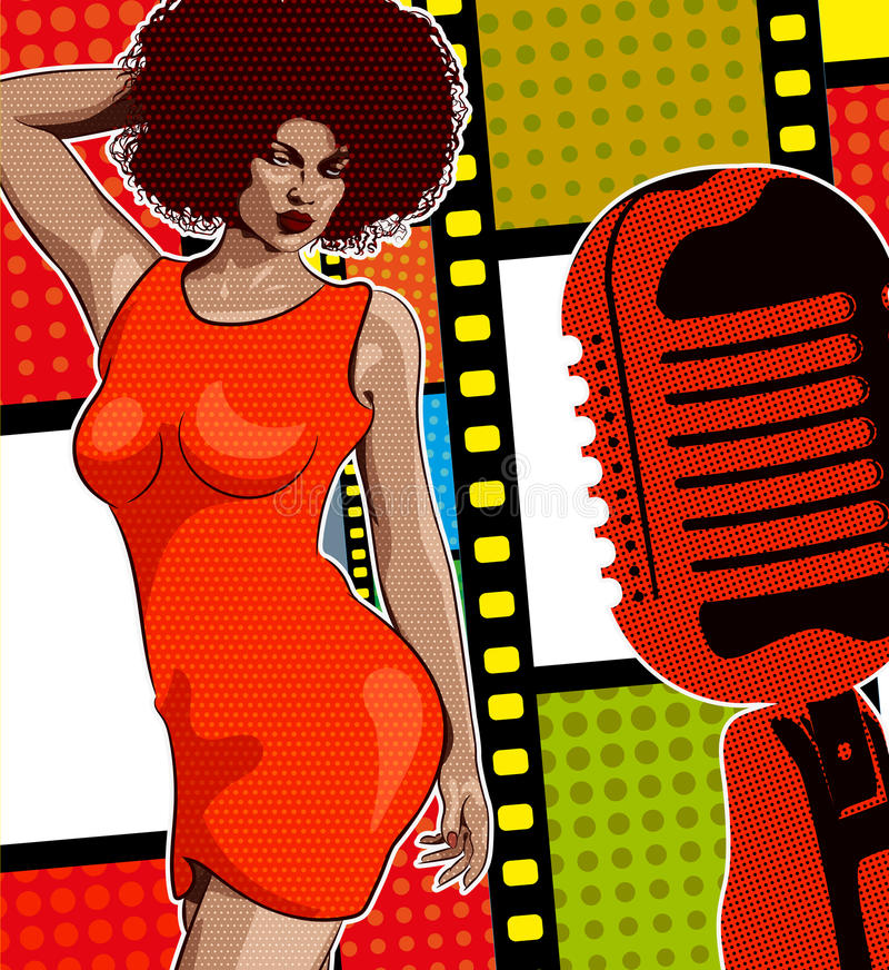 Música del alma del cantante de la señora, vestido rojo Mic y vinilo retros en el fondo Imagen del vector libre illustration