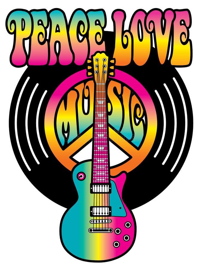 Música del amor de la paz del vinilo libre illustration