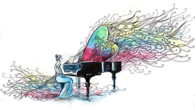 Música del piano stock de ilustración
