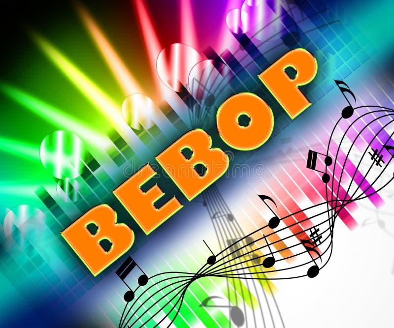 A música do Bebop representa a banda sonora e Estar-Bop ilustração royalty free