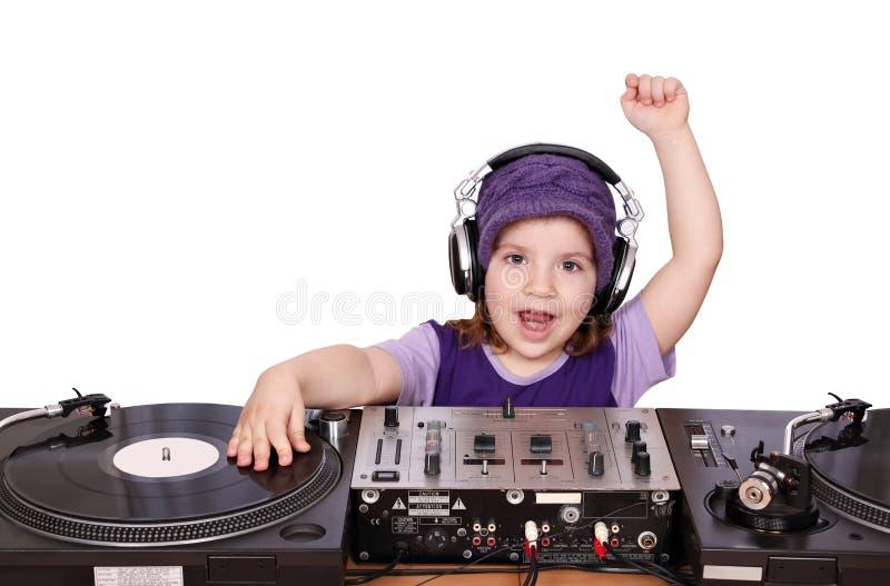 Música do jogo do divertimento do DJ da menina foto de stock