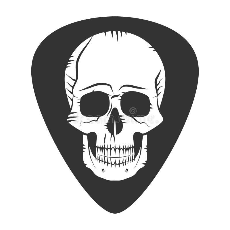 Música do metal do crachá do fest da rocha Picareta da guitarra Mediador com crânio ilustração do vetor