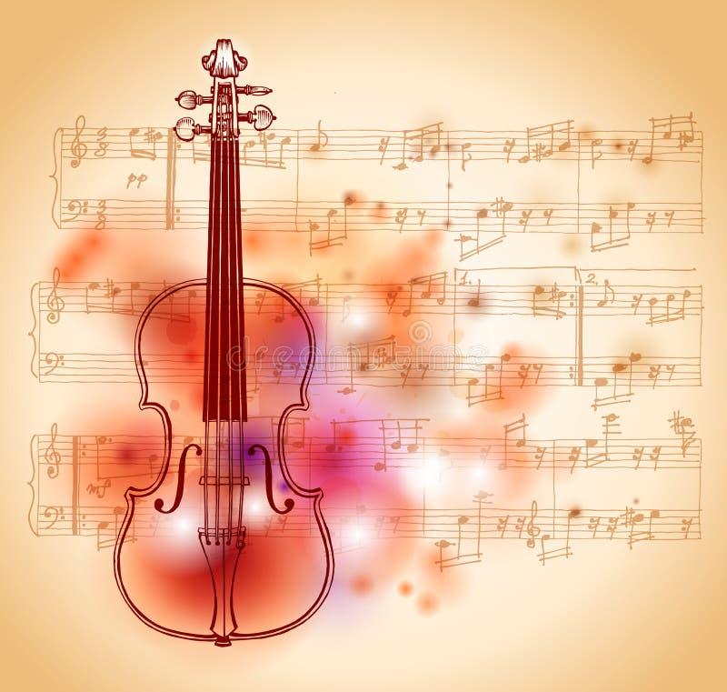 Música do violino e de folha ilustração do vetor