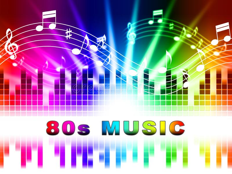 A música dos anos 80 mostra músicas e a banda sonora acústicas ilustração stock