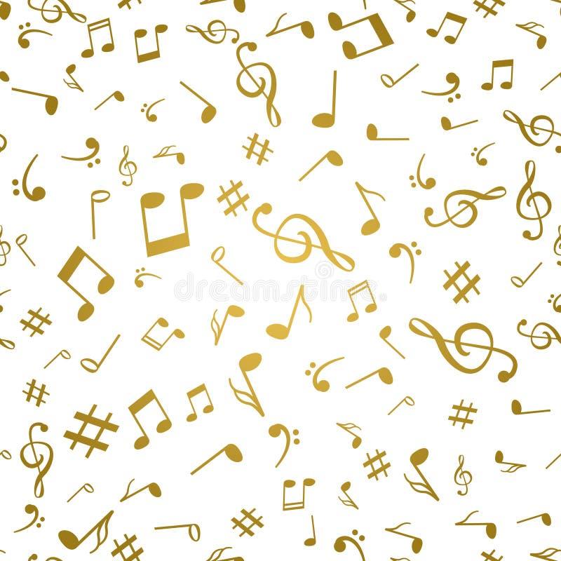 A música dourada abstrata nota a ilustração sem emenda do vetor do fundo do teste padrão para seu projeto ilustração do vetor