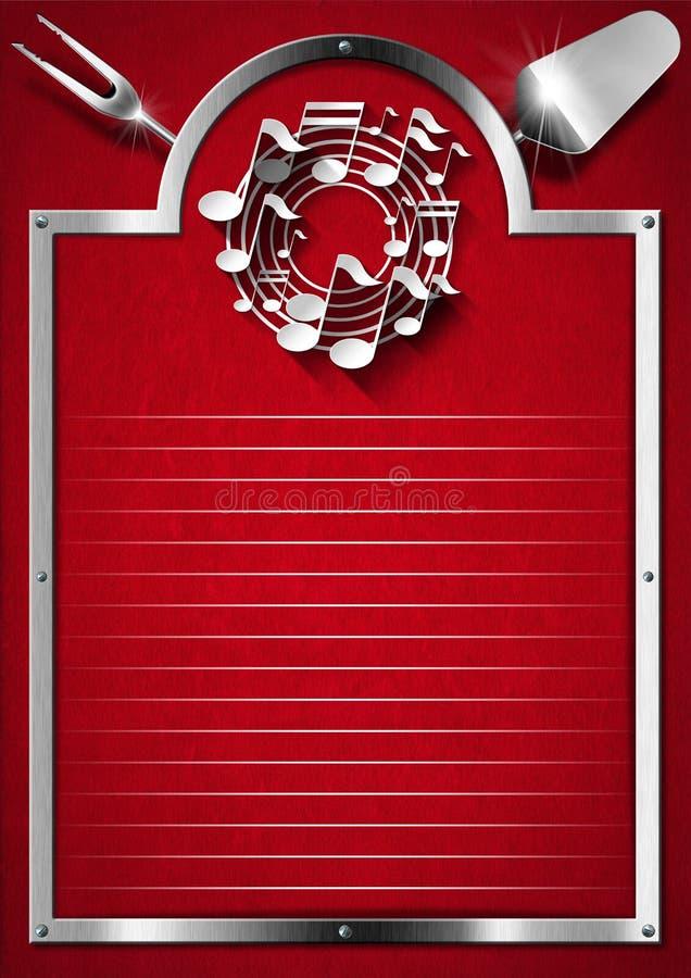 Música e alimento - projeto do menu ilustração royalty free