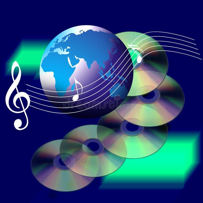 Música e Cd do mundo do Internet ilustração do vetor
