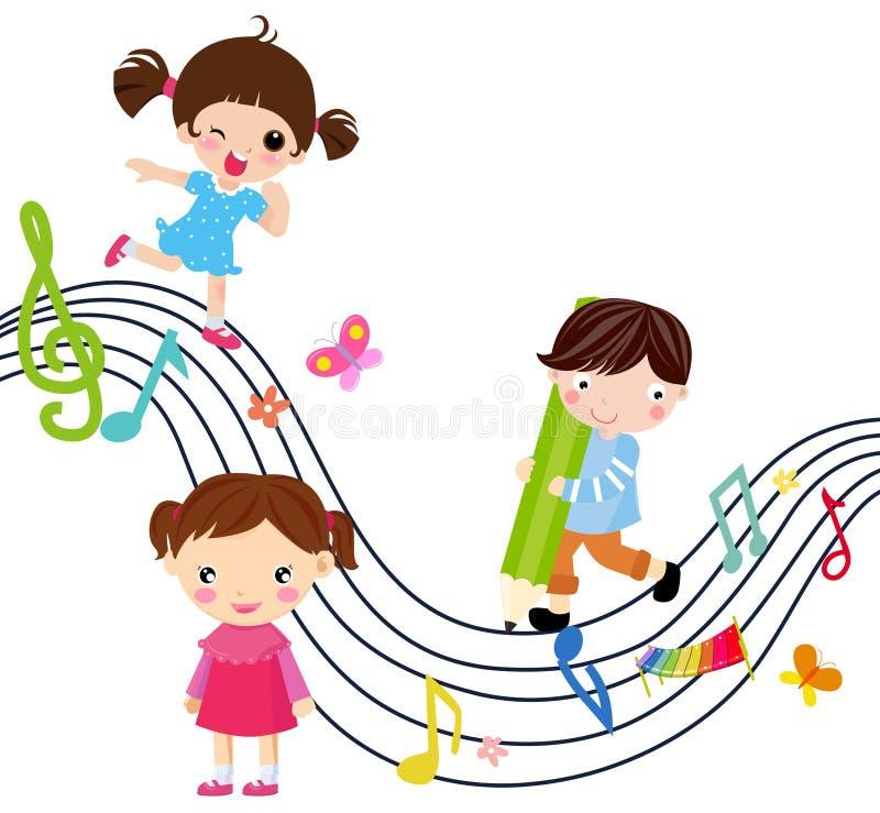 Música e crianças ilustração royalty free