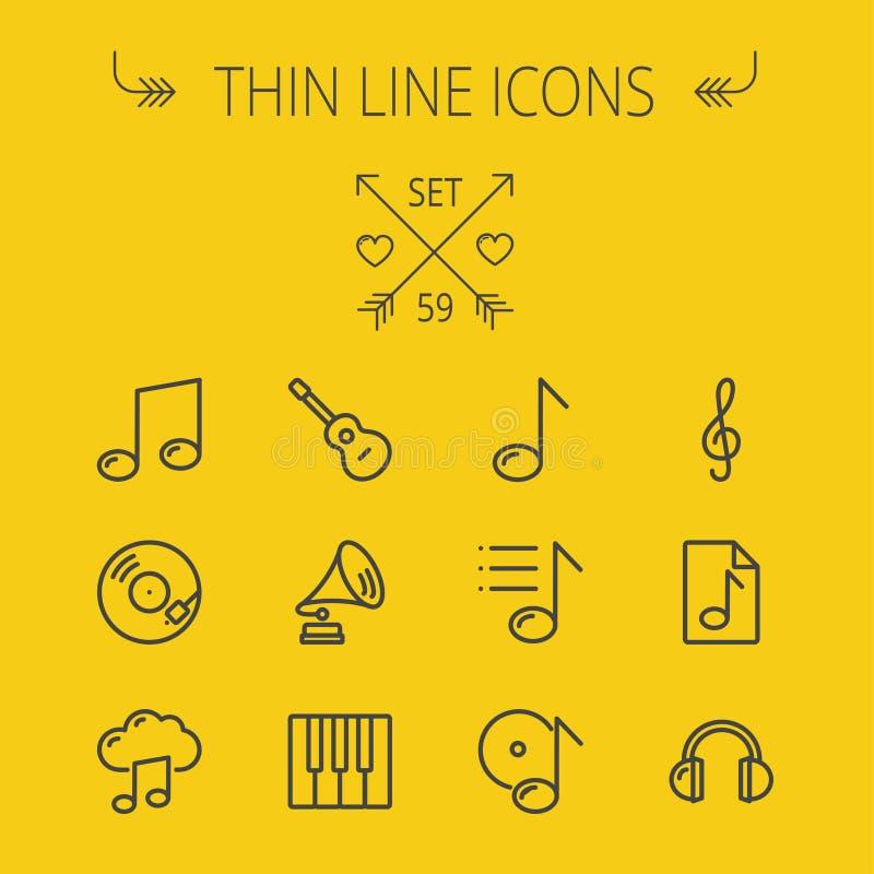 Música e linha fina grupo do entretenimento do ícone ilustração stock
