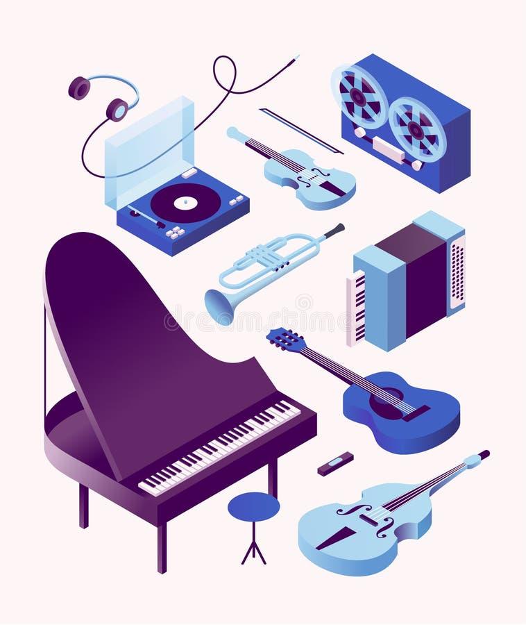 Música, ejemplo isométrico del vector, sistema del icono 3d, fondo blanco Piano, bajo, guitarra, acordeón, trompeta, violín stock de ilustración