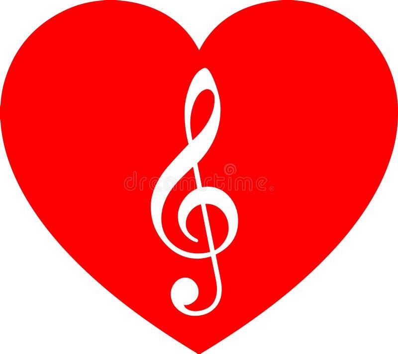 Música en el corazón rojo libre illustration