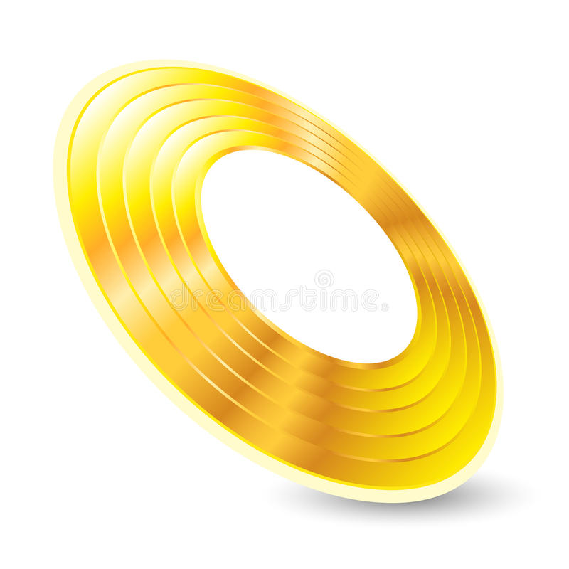 Música, en el oro aislado fondo blanco del objeto stock de ilustración