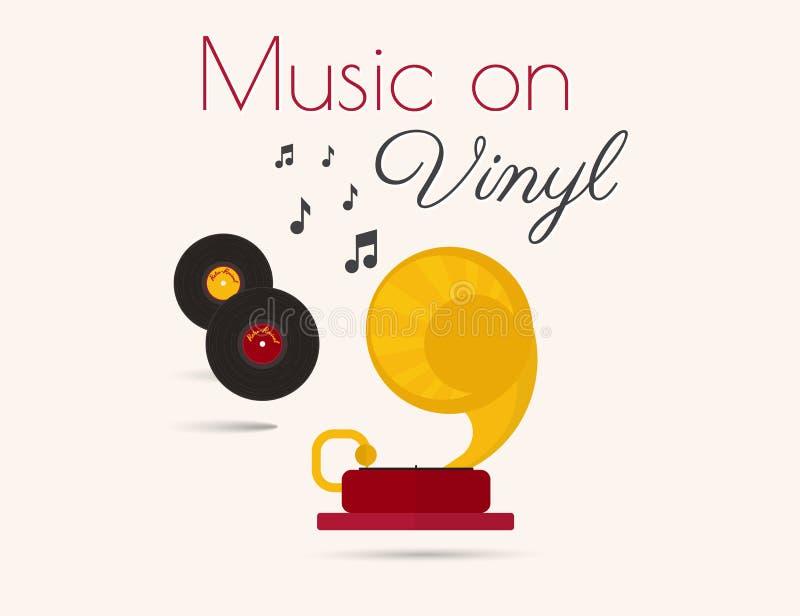 Música en el vinilo stock de ilustración