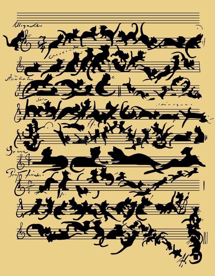 Música engraçada do gato ilustração do vetor