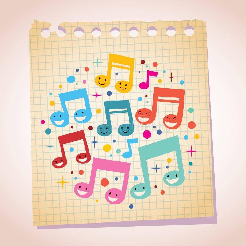 A música feliz nota a ilustração dos desenhos animados do papel de nota ilustração stock