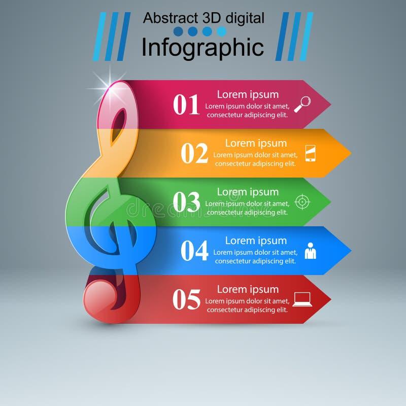 Música infographic Icono de la clave de sol Observe el icono ilustración del vector