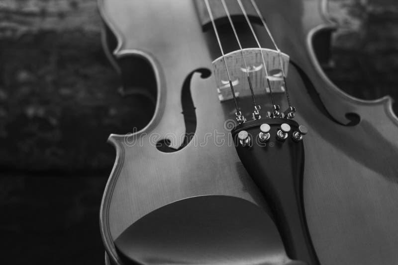 Música inspiradora blanco y negro del violín imagen de archivo