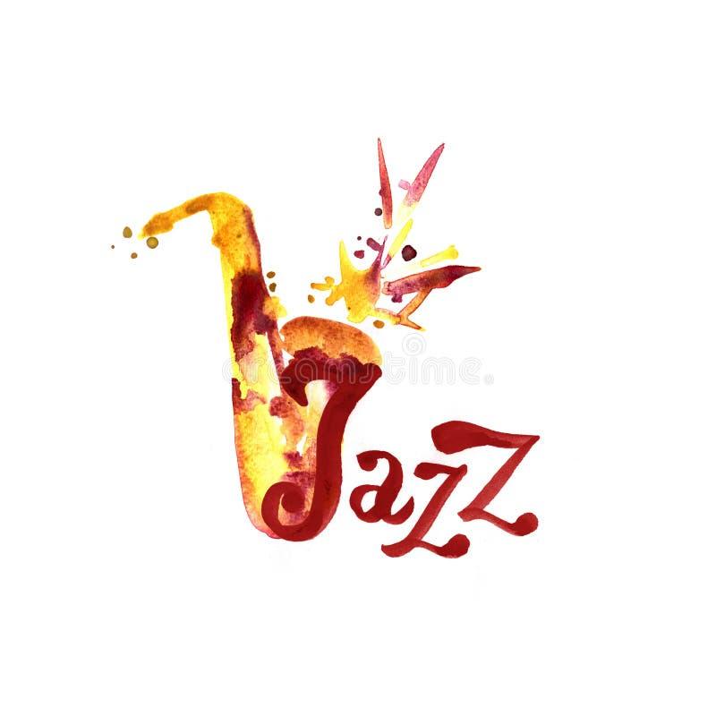 Música jazz, molde do fundo do cartaz Projeto gráfico da aquarela ilustração royalty free