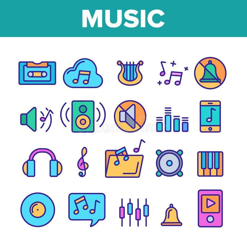 Música, línea fina sistema del vector audio de los iconos ilustración del vector