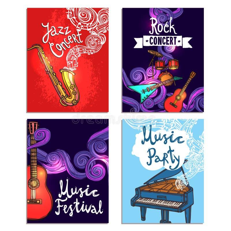 Música Mini Poster Set ilustración del vector