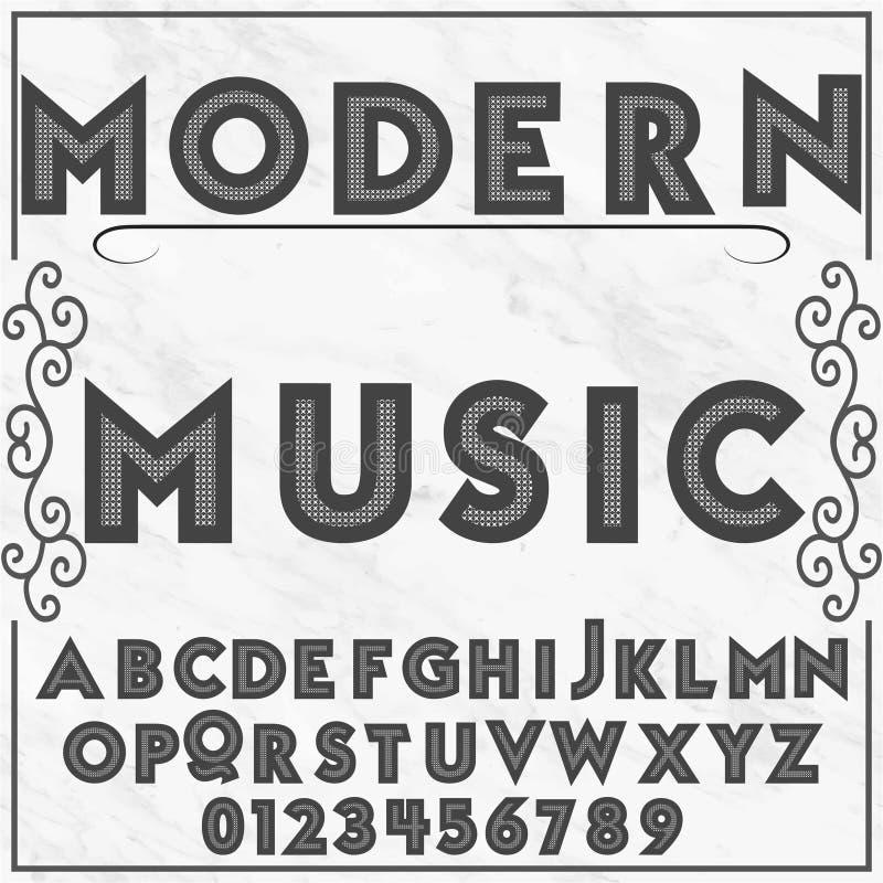 Música moderna de la tipografía de la etiqueta del alfabeto de la fuente ilustración del vector