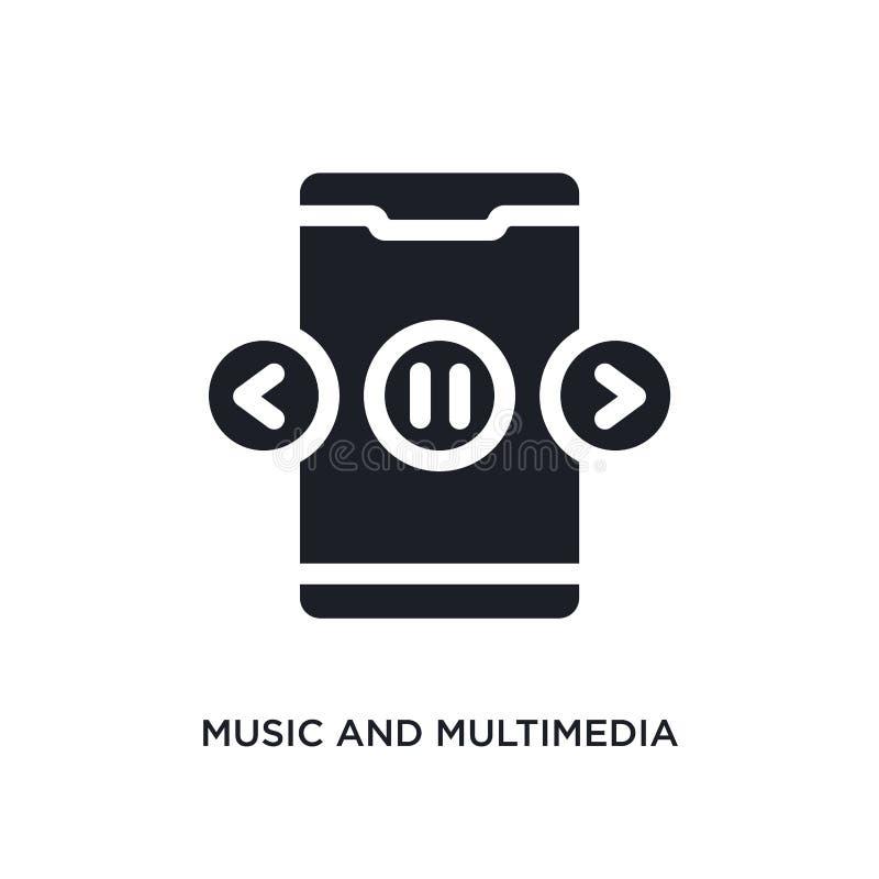 música negra e icono aislado multimedias del vector ejemplo simple del elemento de iconos móviles del vector del concepto del app libre illustration