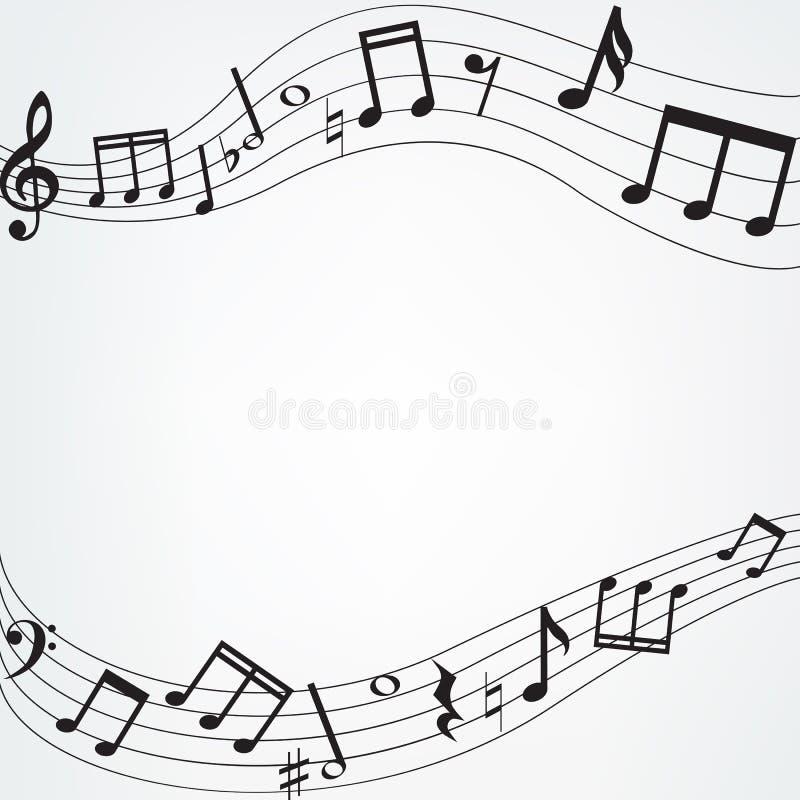 A música nota a beira ilustração do vetor