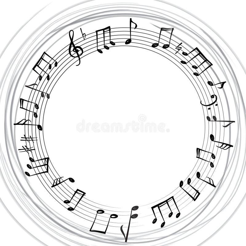 A música nota a beira Fundo musical Forma redonda do estilo da música ilustração stock