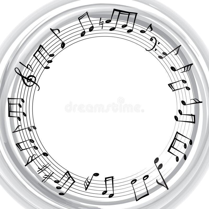 A música nota a beira Fundo musical Quadro da forma redonda da música ilustração royalty free